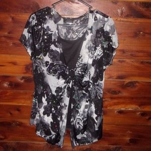 Plus size bling top black & white shirt